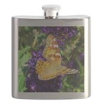 Peacock Butterfly on Purple sq Flask