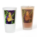 Peacock Butterfly on Purple sq Drinking Glass