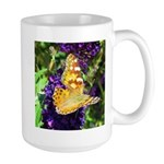 Peacock Butterfly on Purple sq Mugs