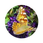 Peacock Butterfly on Purple sq Ornament (Round)