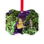 Peacock Butterfly on Purple sq Ornament