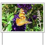 Peacock Butterfly on Purple sq Yard Sign