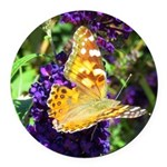 Peacock Butterfly on Purple sq Round Car Magnet