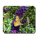 Peacock Butterfly on Purple sq Mousepad