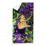 Peacock Butterfly on Purple sq Beach Towel