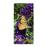Peacock Butterfly on Purple sq Beach Towel