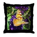 Peacock Butterfly on Purple sq Throw Pillow