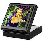 Peacock Butterfly on Purple sq Keepsake Box