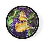 Peacock Butterfly on Purple sq Wall Clock