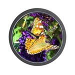 Peacock Butterfly on Purple sq Wall Clock