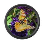 Peacock Butterfly on Purple sq Large Wall Clock