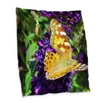 Peacock Butterfly on Purple sq Burlap Throw Pillow