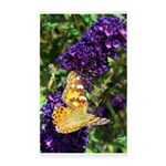 Peacock Butterfly on Purple sq 3'x5' Area Rug
