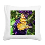 Peacock Butterfly on Purple sq Square Canvas Pillo