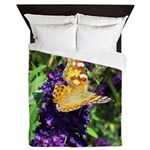 Peacock Butterfly on Purple sq Queen Duvet