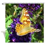 Peacock Butterfly on Purple sq Shower Curtain