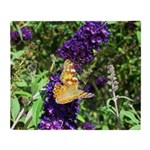 Peacock Butterfly on Purple sq Throw Blanket