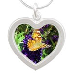 Peacock Butterfly on Purple sq Necklaces