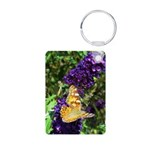 Peacock Butterfly on Purple sq Keychains