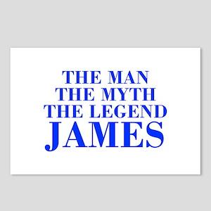 The Man Myth Legend JAMES-bod blue Postcards (Pack
