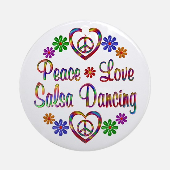 Peace Love Salsa Ornament (Round)