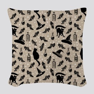 vintage witchy Woven Throw Pillow