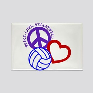 PEACE, LOVE, VOLLEYBALL Rectangle Magnet
