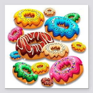 "Donuts Party Time Square Car Magnet 3"" x 3"""