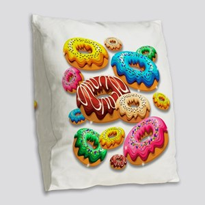 Donuts Party Time Burlap Throw Pillow