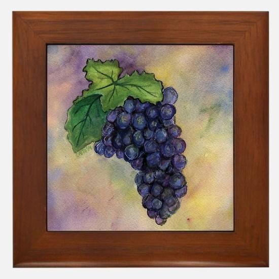 Red Wine Grapes Framed Tile