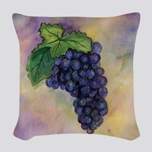 Red Wine Grapes Woven Throw Pillow