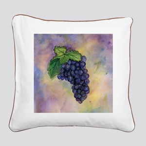 Red Wine Grapes Square Canvas Pillow