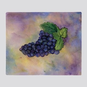 Red Wine Grapes Throw Blanket