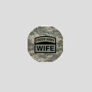 Proud Army Wife Camo Mini Button