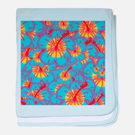 Light blue hibiscus baby blanket