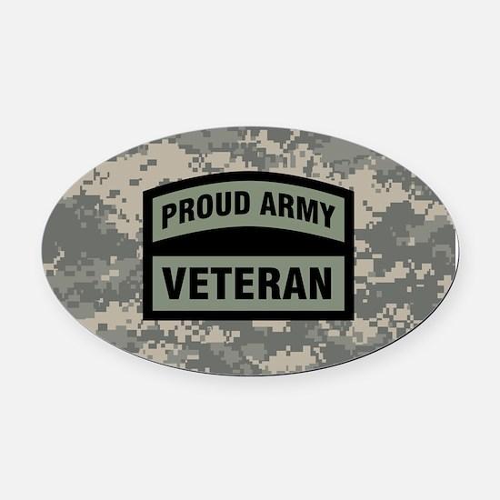 Proud Army Veteran Camo Oval Car Magnet