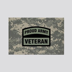 Proud Army Veteran Camo Rectangle Magnet