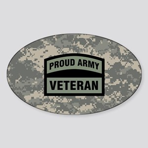 Proud Army Veteran Camo Sticker (Oval)