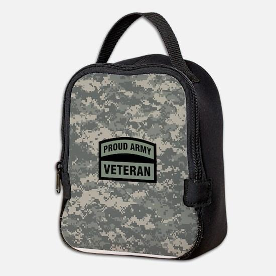 Proud Army Veteran Camo Neoprene Lunch Bag
