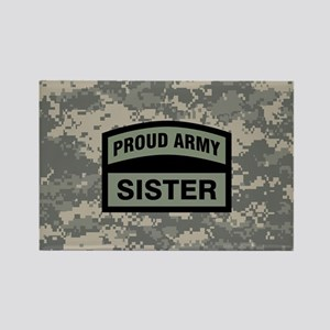 Proud Army Sister Camo Rectangle Magnet