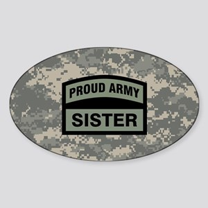 Proud Army Sister Camo Sticker (Oval)