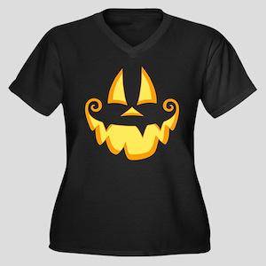 Jack Face Women's Plus Size V-Neck Dark T-Shirt
