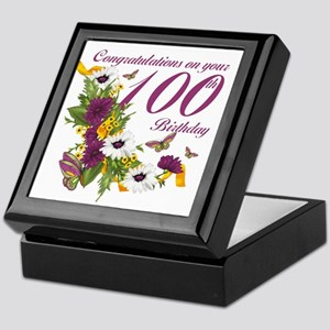 100th Birthday Floral And Butterfly Keepsake Box