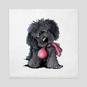 Playful Newfie Pup Queen Duvet