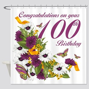 100th Birthday Floral And Butterfly Shower Curtain