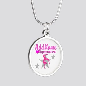 GYMNASTICS LOVE Silver Round Necklace