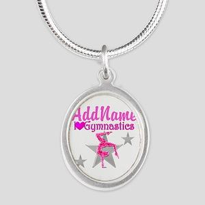 GYMNASTICS LOVE Silver Oval Necklace