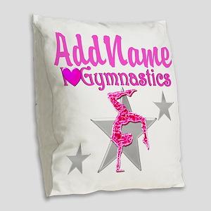 GYMNASTICS LOVE Burlap Throw Pillow