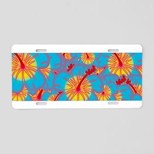 Light blue hibiscus Aluminum License Plate
