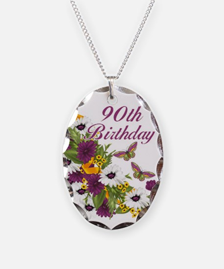 90th Birthday Floral Necklace Oval Charm
